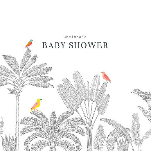 Baby Shower Invitations Birds of paradise white