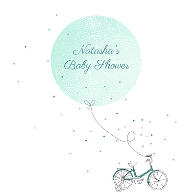 Baby Shower Invitations Little bicycle green finition