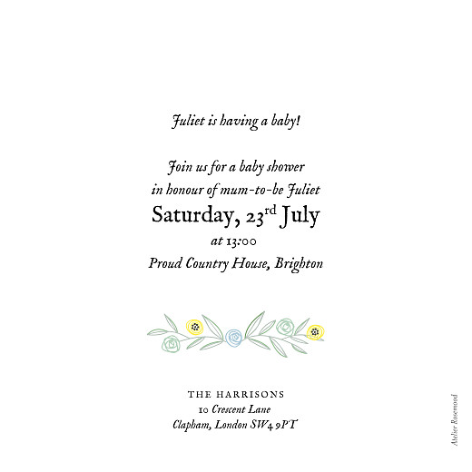 Baby Shower Invitations Rustic floral green - Page 2