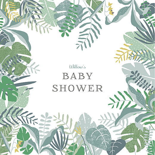 Baby Shower Invitations Tropical forest green