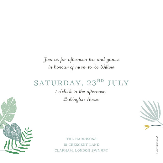 Baby Shower Invitations Tropical forest green - Page 2