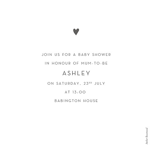 Baby Shower Invitations Lovely heart (foil) white - Page 2