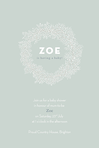 Baby Shower Invitations Baby's breath green finition