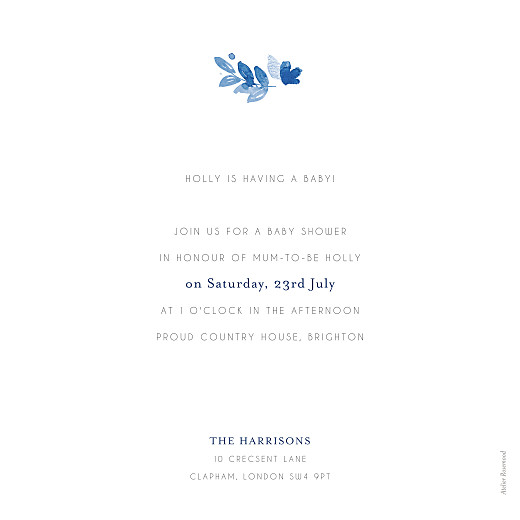Baby Shower Invitations English garden blue - Page 2