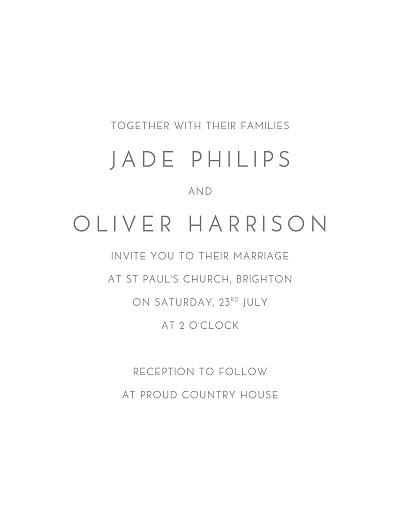 Wedding Invitations Classic modern white finition