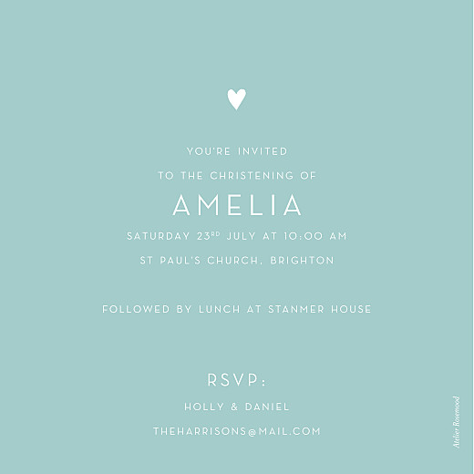 Christening Invitations Lovely heart blue - Page 2