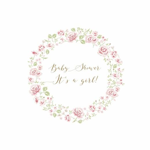 Baby Shower Invitations Rose garden white
