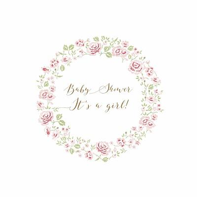 Baby Shower Invitations Rose garden white finition