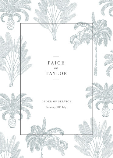 Wedding Order of Service Booklets Paradise blue