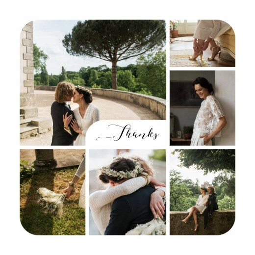 Wedding Thank You Cards Tender moments photos white