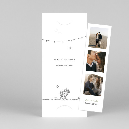 Save The Date Cards Bohemian promise (bookmark) white - View 1