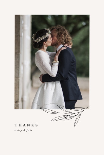 Wedding Thank You Cards Budding branch portrait beige - Page 1