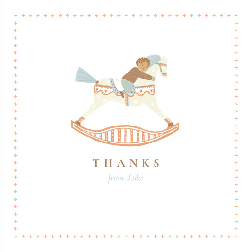 Baby Thank You Cards Rocking horse (boy) brown