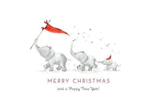 Christmas Cards Elephant festive family of 3 white