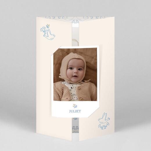Baby Thank You Cards Soaring gatefold blue - View 1