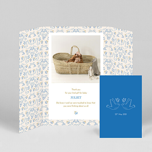Baby Thank You Cards Soaring gatefold blue - View 2
