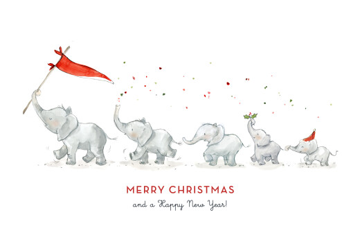 Christmas Cards Elephant festive family of 5 white - Page 1