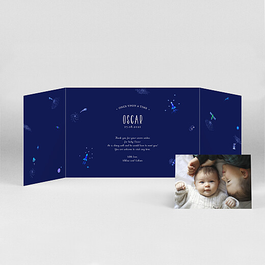 Baby Thank You Cards Once upon a time (landscape gatefold) space - View 2