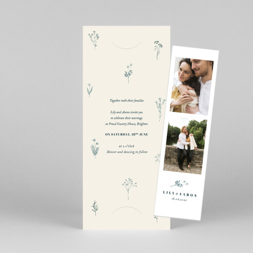 Wedding Invitations Floral minimalist (bookmark) beige - View 1