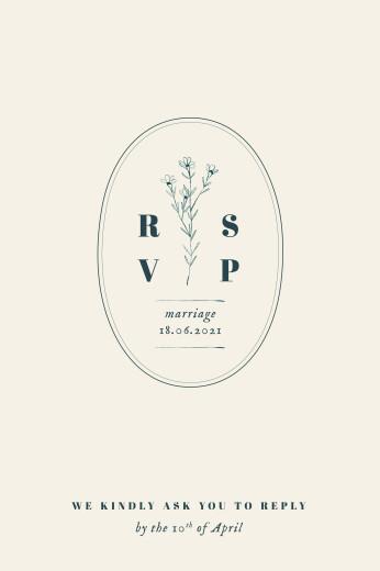 RSVP Cards Floral minimalist (portrait) beige