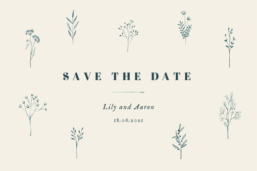Save The Date Cards Floral minimalist beige