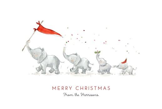 Christmas Cards Elephant festive family of 4 white