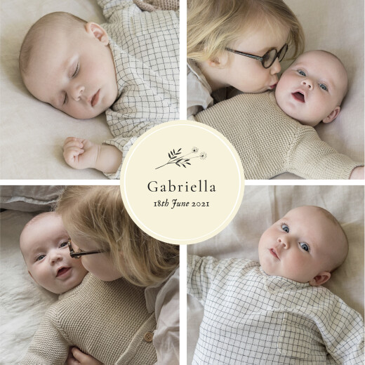 Baby Announcements Floral minimalist (medallion) beige