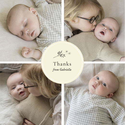 Baby Thank You Cards Floral minimalist (medallion) beige