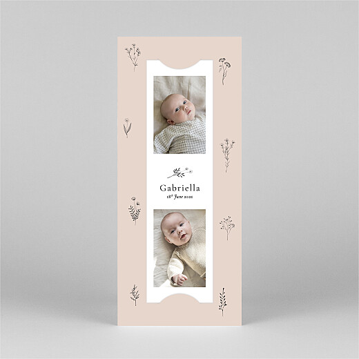Baby Thank You Cards Floral minimalist (bookmark) pink - View 2