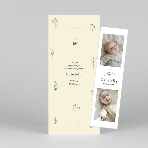 Baby Thank You Cards Floral minimalist (bookmark) beige - View 1