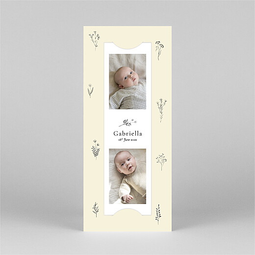 Baby Thank You Cards Floral minimalist (bookmark) beige - View 2