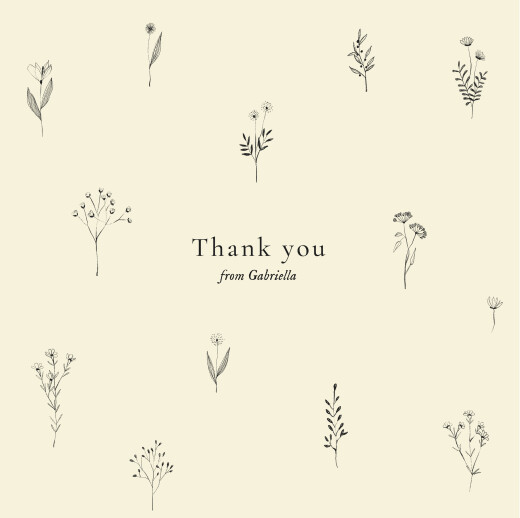 Baby Thank You Cards Floral minimalist beige