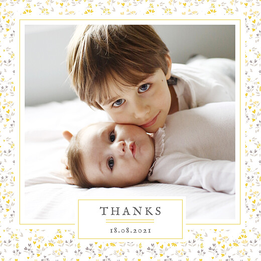 Baby Thank You Cards Liberty hearts 4 pages (foil) yellow