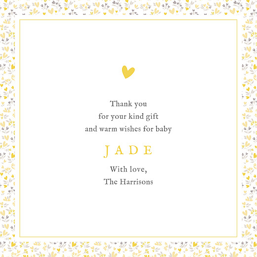 Baby Thank You Cards Liberty hearts 4 pages (foil) yellow - Page 3