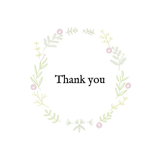 Baby Thank You Cards Rustic floral (foil) pink