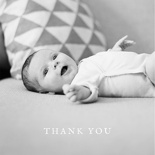 Baby Thank You Cards Polka dot border (foil) white