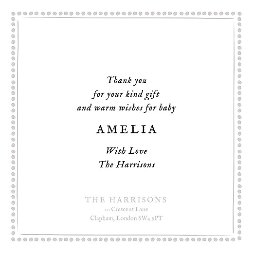 Baby Thank You Cards Polka dot border (foil) white - Page 3