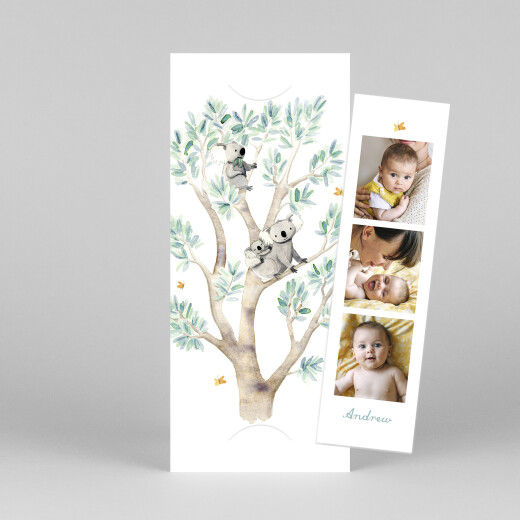 Baby Thank You Cards Koala family of 3 (bookmark) white - View 1