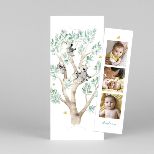 Baby Thank You Cards Koala family of 4 (bookmark) white - View 1