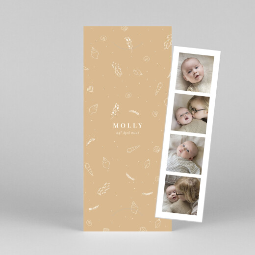 Baby Thank You Cards Elegant sea shells (bookmark) sand - View 1
