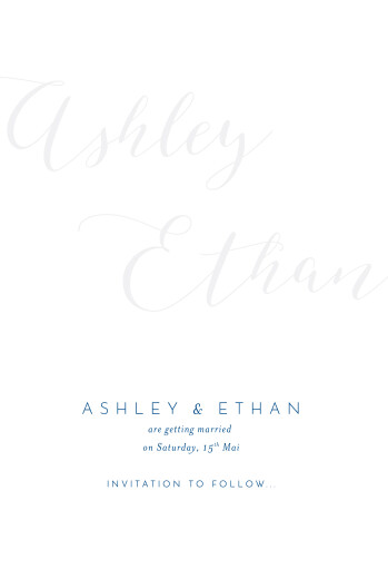 Save The Date Cards Calligraphy blue