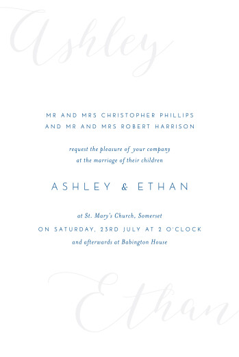 Wedding Invitations Calligraphy (small) blue - Page 1