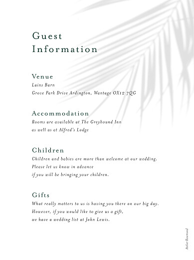 Guest Information Cards Mediterranean dream palm tree - Page 2