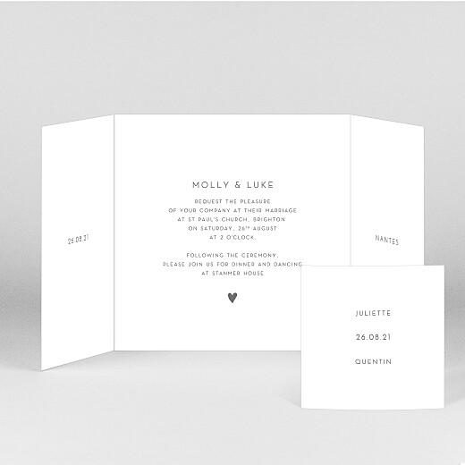 婚礼请柬优雅的心脏(折页)白 - 查看2