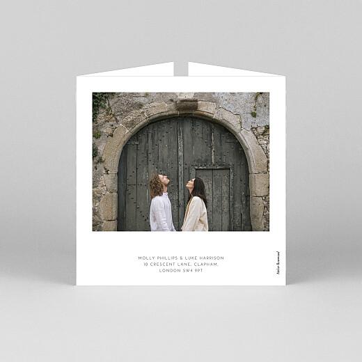 婚礼请柬优雅的心脏(折页)白色 - 查看3