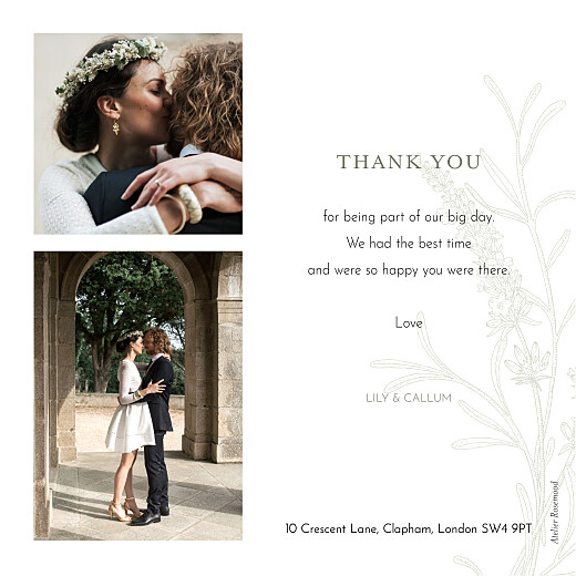 Wedding Thank You Cards Hearts aflutter green - Page 2