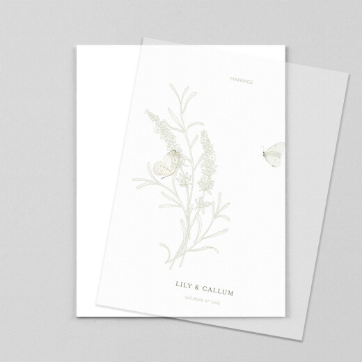 Wedding Invitations Hearts aflutter portrait (vellum) green - View 1
