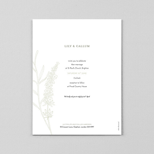 Wedding Invitations Hearts aflutter portrait (vellum) green - View 3