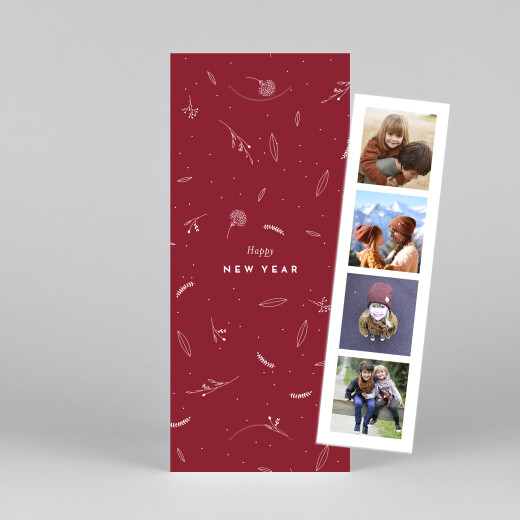 Christmas Cards Elegant foliage (bookmark) red - View 1