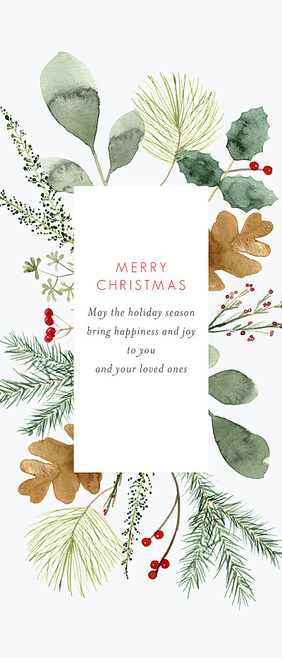 Christmas Cards Watercolour foliage (bookmark) white finition